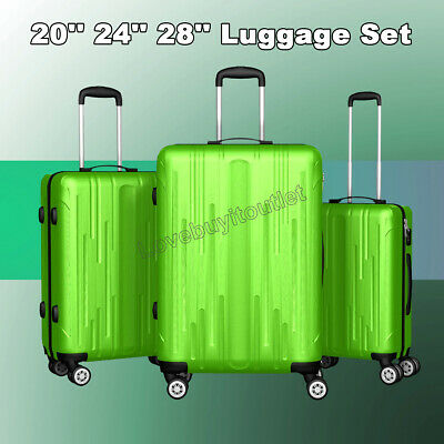 """3pcs Luggage Set Travel Bag ABS Trolley Spinner Suitcase 20"""" 24"""" 28"""" Green"""