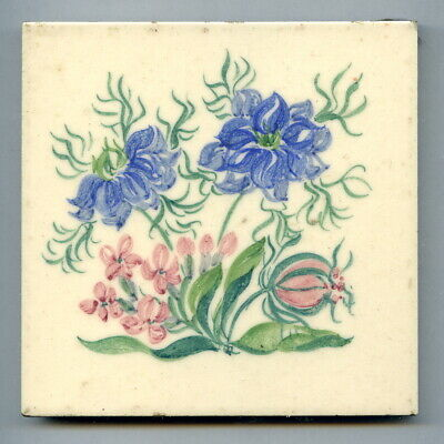 """Handpainted 4""""sq tile from """"Cultivated Flowers"""" series by Packard & Ord, c1950"""