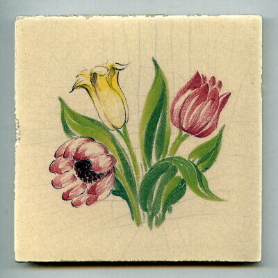 """Handpainted 4""""sq tile from the """"Spring Flowers"""" series by Packard & Ord, 1950"""