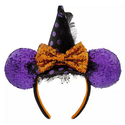NEW Disney Parks Halloween Minnie Mouse Lets Get Wicked Witch Hat Ears Headband