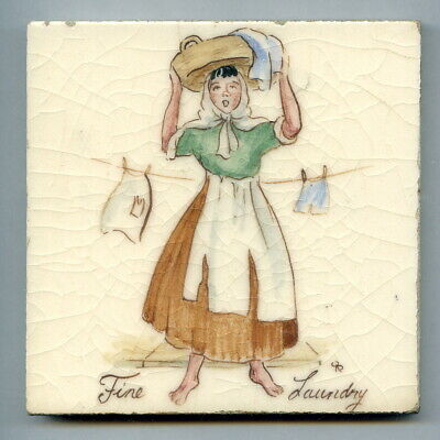 "Handpainted 4""sq tile, ""Old London Street Cries"" series by Packard & Ord, c1947"