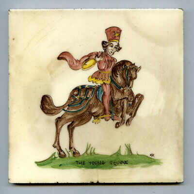 """Handpainted 5""""sq tile from """"Canterbury Pilgrims"""" series by Packard & Ord c1953"""