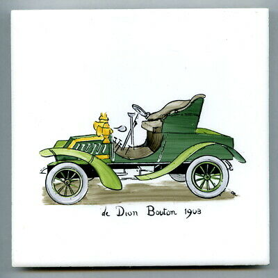 """Handpainted 6""""sq tile from the """"Veteran Cars"""" series by Packard & Ord, 1959"""