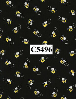 You are My Sunshine Bees on black 100% cotton fabric by the yard Timeless Tr