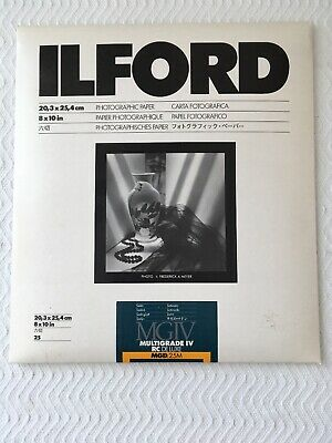 Ilford Photographic Paper 8X10 Satin Multigrade IV RC DELUXE 25 Sheets; Sealed