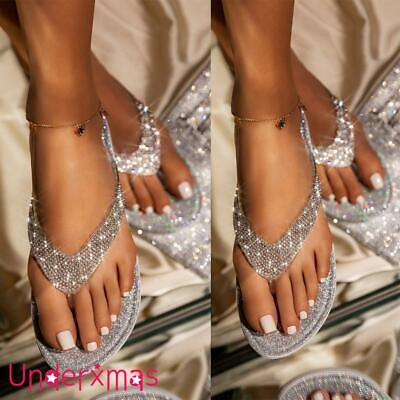 Uk Womens Ladies Flat Jelly Diamante Toe Post Summer Flip Flops Sandals Size 3-6