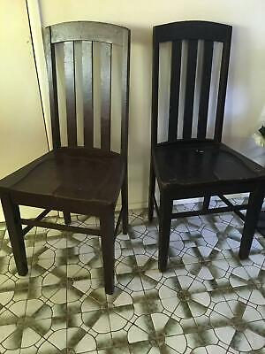2 Silky Oak Antique Dining chairs very sturdy suit restoration