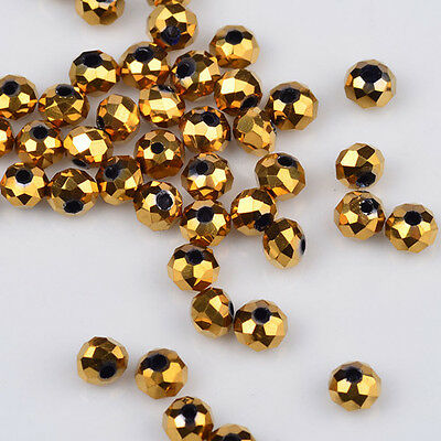 100 pcs 3x2mm Chinese Crystal exquisite Glass Beads Faceted Rondelle Golden~