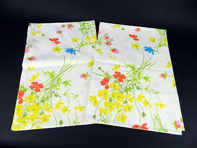 Vtg Fieldcrest Perfection Percale Yellow Blue Red Floral Standard Pillowcases