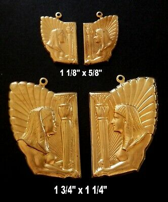 Vintage Brass Stampings / Ancient Egyptian Queen w. Pillars / Lotus - Two Sizes