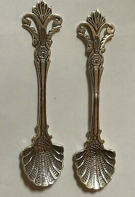 Pair of Ornate Sterling Silver Salt Spoons with Scallop Bowls