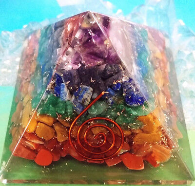 "Huge 4"" Orgone Chakra Layer Crystal Energy Generator Pyramid,  Sacred Geometry"
