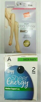 3 Pair Hanes Silk Reflections Ultra Sheer Toeless Control Top Pantyhose #0B376