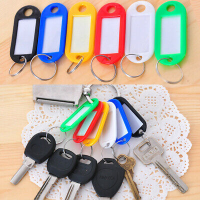 Pack of 50 Colour Key Tags Luggage Label ID Card With Paper Inserts Split Rings