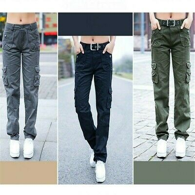 Lady Cargo Trousers Combat Pants Pockets Military Army Slim Straight Leg Classic