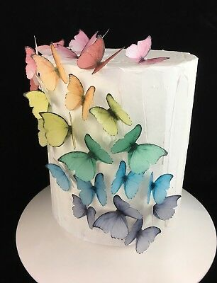 Edible Butterflies Rice Paper Cake Princess 20pc Butterfly Rainbow AUS MADE