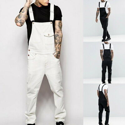 Men's Casual Loose Fit Pants Cargo Bib Overalls Multi Pocket Trousers Jumpsuits