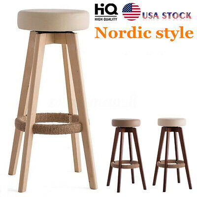 Wooden Vintage Bar Stool Dinning Chair Leather Counter Seat Home Kitchen Pub US