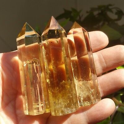 Rainbow!72g3pcs NATURAL Citrine QUARTZ CRYSTAL WAND POINT HEALING L5439