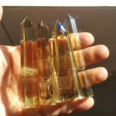Rainbow!98g4pcs NATURAL Citrine QUARTZ CRYSTAL WAND POINT HEALING L5458