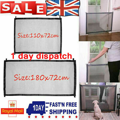 UK Retractable Pet Dog Gate Safety Guard Folding Baby Stair Gate Isolation