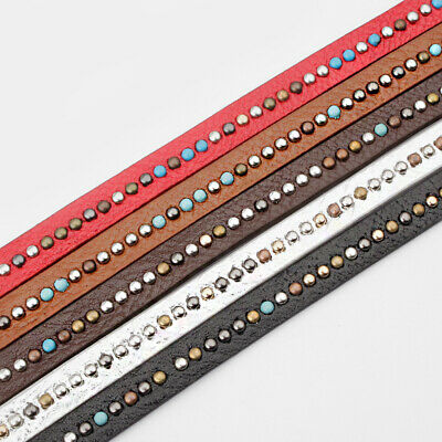 1Meters 10x2mm Colorful Rivet Diamond PU Leather Cord Jewelry Finding