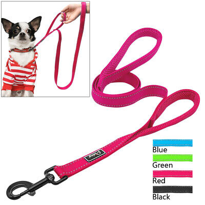4ft Dual Handle Reflective Dog Leads Padded 2 Handle Pet Leash Nylon Rope Blue