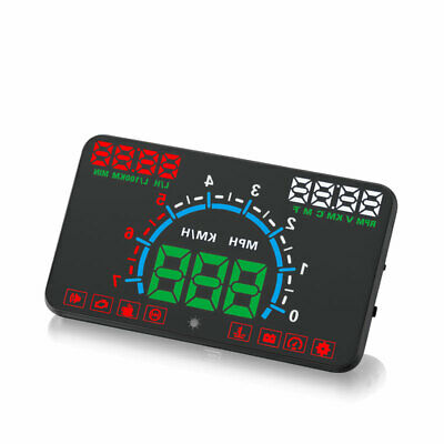 """5.8"""" In-Car GPS OBD2 Head Up Display HUD Reflection Speed Warning Driving Safety"""