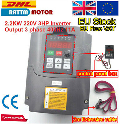 〖EU〗 3HP 220V Inverter Variable Frequency Drive 2.2KW Spindle VFD Speed Control