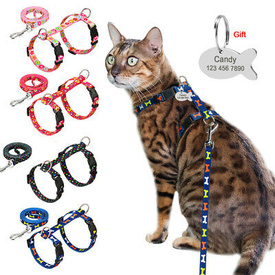 Cat Walking Harness and Leads With Engraved ID Tag Adjustable Puppy Kitten Strap