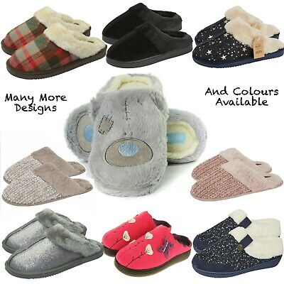 Ladies Slippers Faux Suede Sheepskin Fur Warm Winter OR Summer Comfy Mules