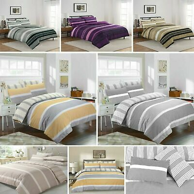 Stripe Duvet Cover with Pillow Case Quilt Covers Bedding Set Single Double King