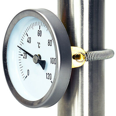 CLIP-ON Hot Water PIPE Dial surface Thermometer with spring 63mm 0-120°C bimetal