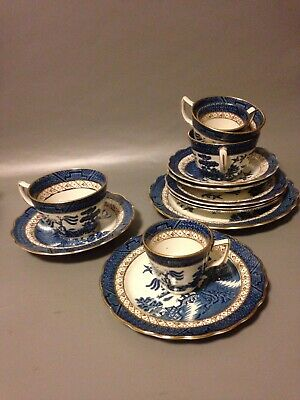 5 Booths Real Old Willow A8025 Vintage Antique Gilt Edge Coffee Cups & Demitasse