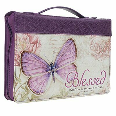 Woman Blessing Bible Cover Large Purple Butterfly Zippered Handle Case 2Pen Loop