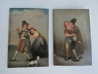 Fine Pair 19Th Century Oil Paintings Of Drunkards Signed With Monogram Initials