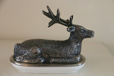 Stunning Stag Butter Dish Aluminium With White Ceramic Base
