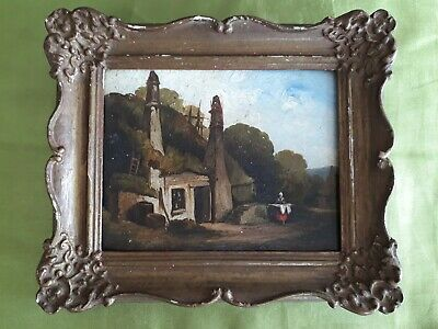 Small Antique 19th Century Rustic  Landscape Cottage Victorian Oil Painting