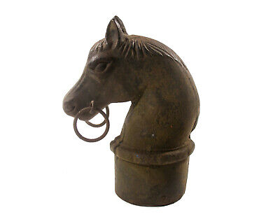 Antique Cast Iron Hitching Post Horse Head Double Rings Historic Old City Decor