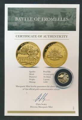 Australia: ANZAC WWI Centennial Battle of Fromelles Gold Medal with Certificate