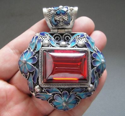 Antique Chinese Silver & Enamel Carved Flowers Mosaic Red Zircon Pendant 65g