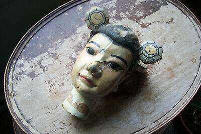 Antique Asian Chinese Wood Carved Puppet/Doll Head