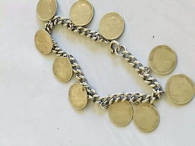Antique Art Deco Sterling Silver Three Pence Coin Bracelet