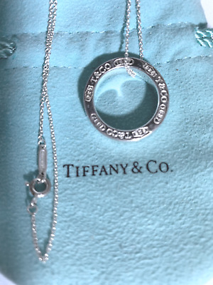 "Tiffany & Co. Sterling Silver Open Round Logo Charm 18"" Necklace"