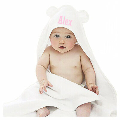 Personalised Embroidered Baby Towel with ears Hooded Robe Bath Time Cute