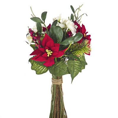 Artificial Silk Christmas Flower and Berry Mixed Bouquet With Twigs 38cm