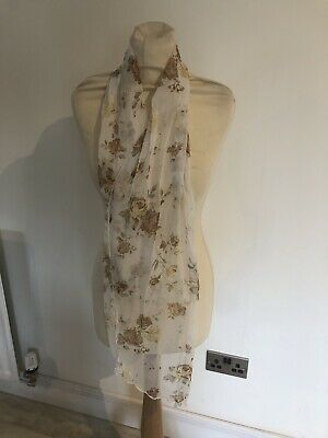 Vintage 80S White & Yellow Floral Sheer Retro Scarf