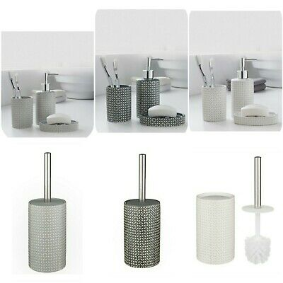 Moroccan Geometric 3 piece Ceramic Bath Room Set Bath // Matching Toilet Brush