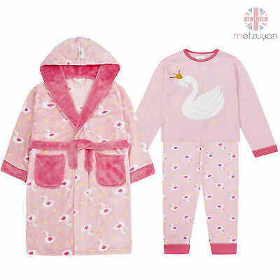 Childrens Girls Dressing Robe Gown Pyjama Set Pink Swan Cotton 2-13 Years Soft