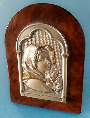 Vintage 925 Sterling Silver on Wood MADONNA & CHILD Religious signed Icon Plaque